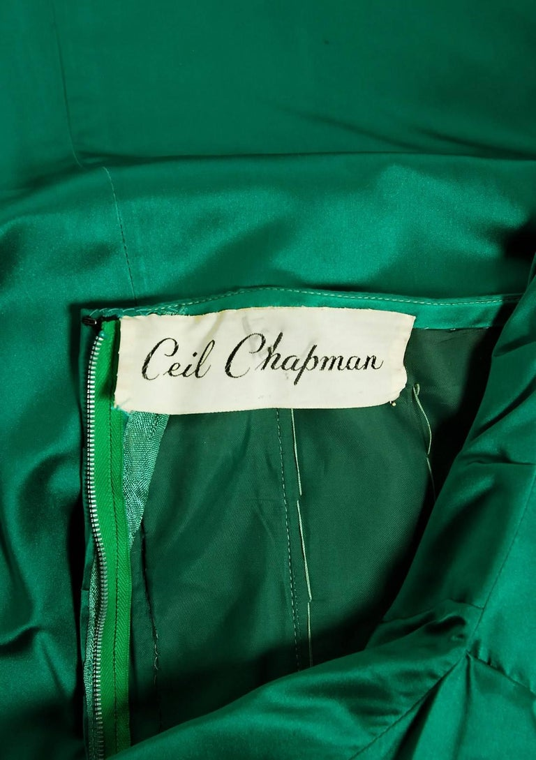 1950's Ceil Chapman Beaded Sequin Green Ruched Satin One-Shoulder Evening Gown 8
