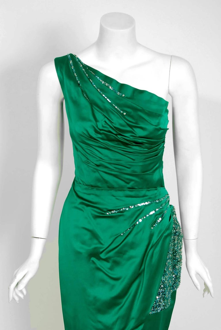 1950's Ceil Chapman Beaded Sequin Green Ruched Satin One-Shoulder Evening Gown 2