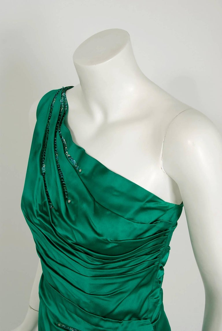 1950's Ceil Chapman Beaded Sequin Green Ruched Satin One-Shoulder Evening Gown In Excellent Condition For Sale In Beverly Hills, CA