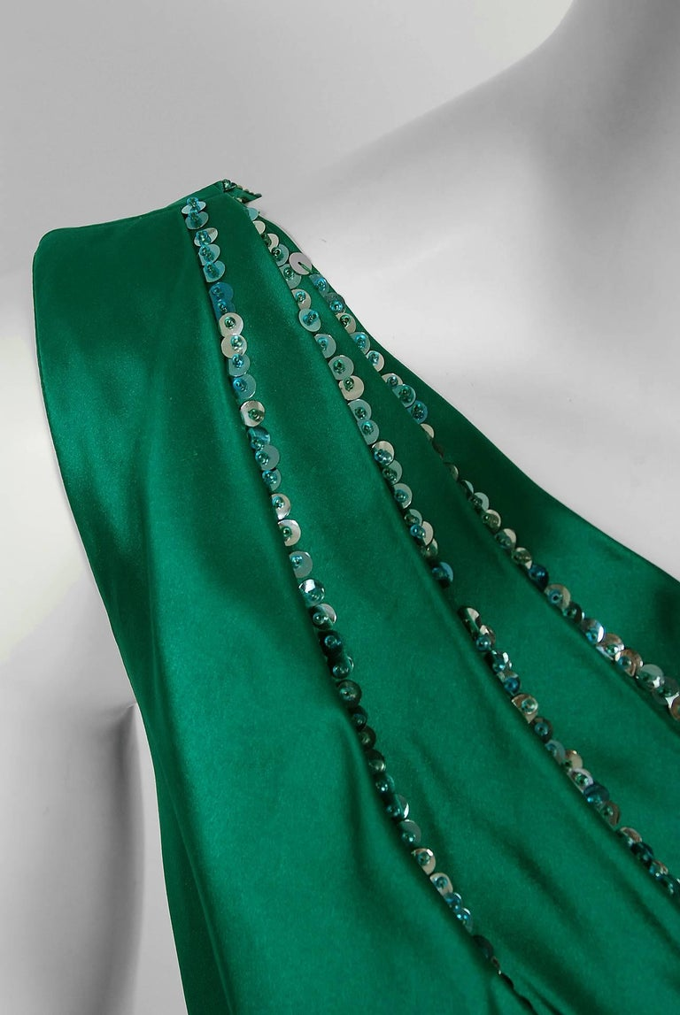 1950's Ceil Chapman Beaded Sequin Green Ruched Satin One-Shoulder Evening Gown 4
