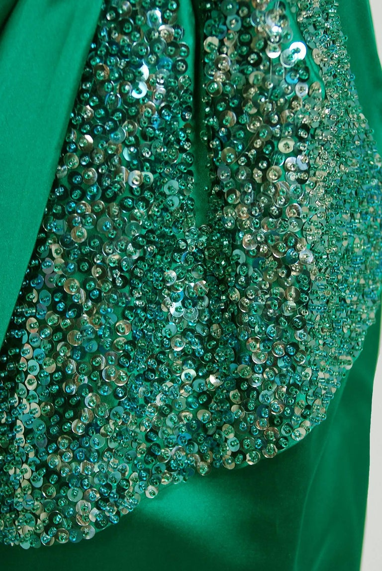 1950's Ceil Chapman Beaded Sequin Green Ruched Satin One-Shoulder Evening Gown 5