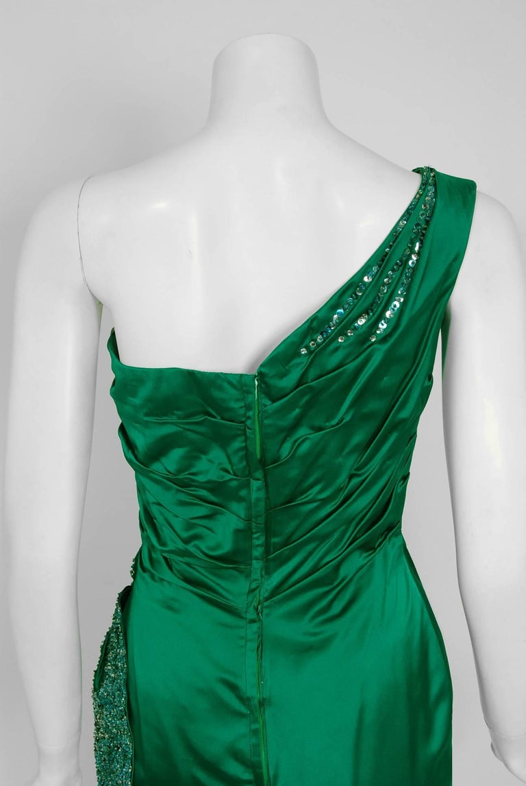 1950's Ceil Chapman Beaded Sequin Green Ruched Satin One-Shoulder Evening Gown 7