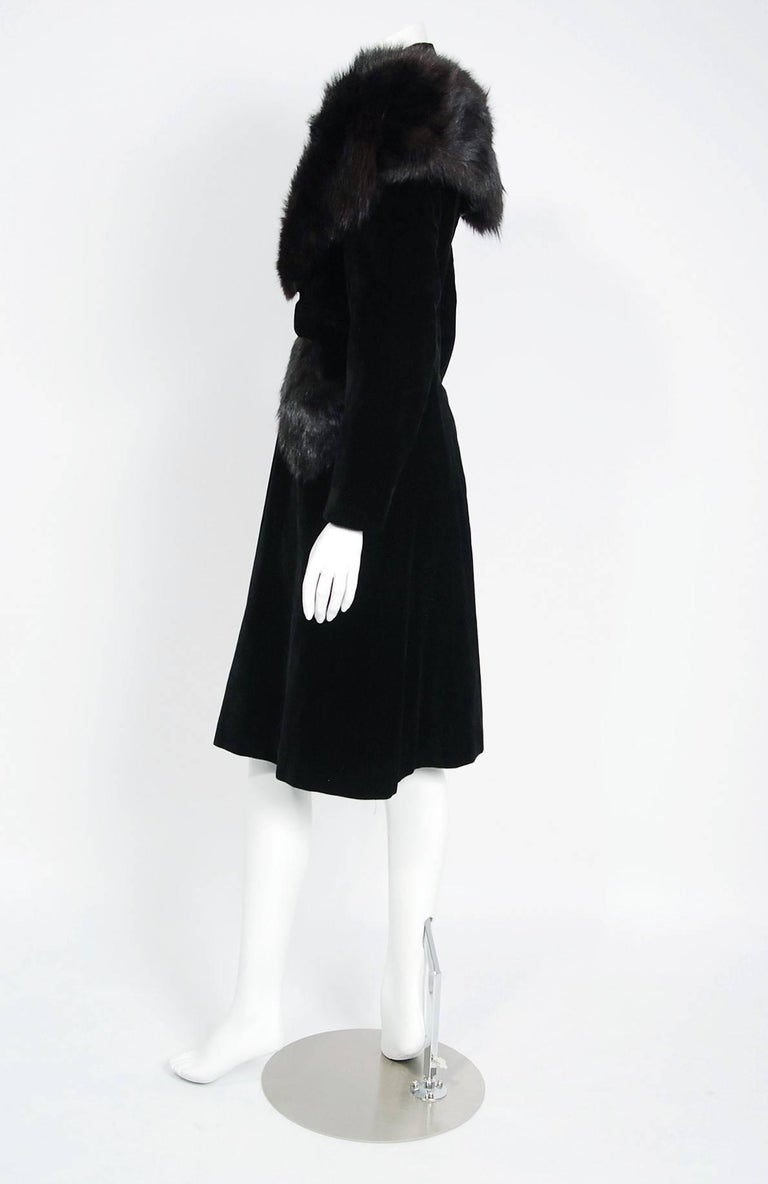 Women's French Black Velvet and Genuine Fox Fur Belted Princess Coat Jacket, 1940s  For Sale