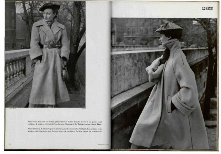 Vintage 1951 Pierre Balmain Haute Couture Black Velvet Wide-Cuff Swing Coat  For Sale 2
