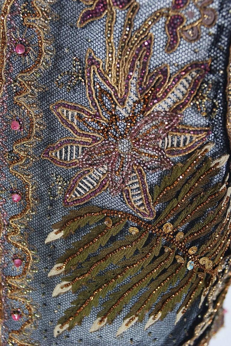 Women's or Men's 1910 Edwardian Embroidered Beaded Floral Motif Net Art Nouveau Vest For Sale