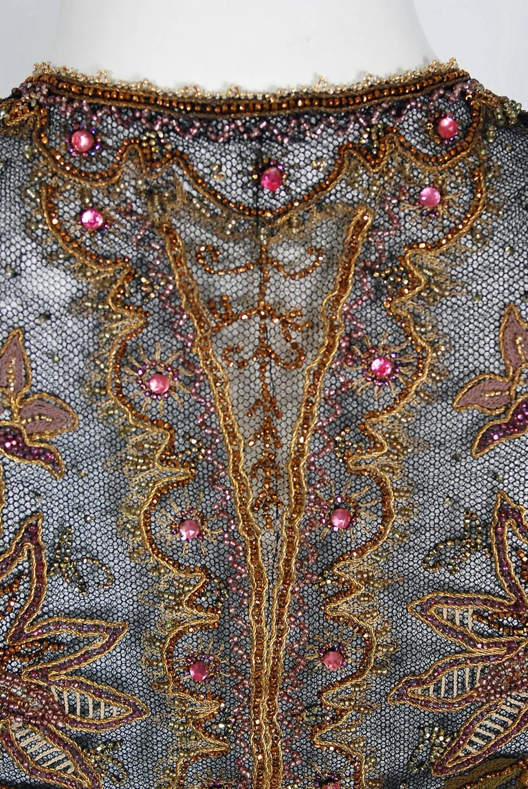 1910 Edwardian Embroidered Beaded Floral Motif Net Art Nouveau Vest For Sale 2