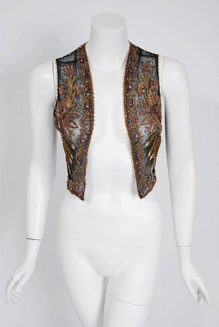 Black 1910 Edwardian Embroidered Beaded Floral Motif Net Art Nouveau Vest For Sale