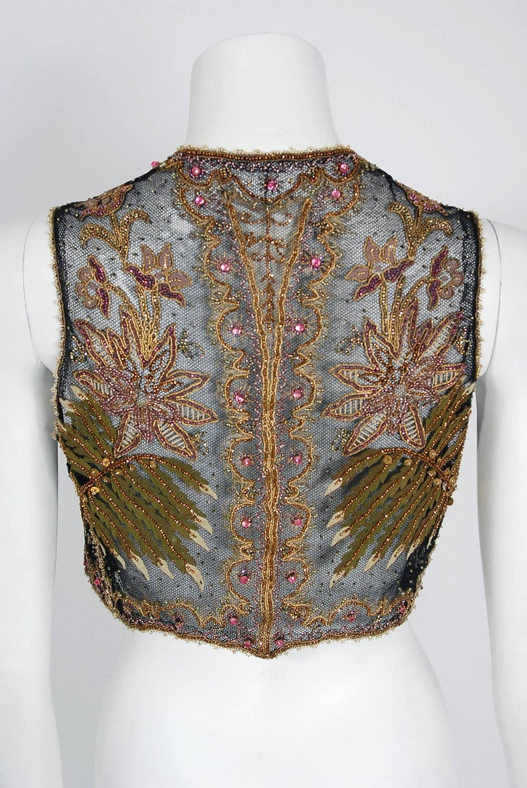 1910 Edwardian Embroidered Beaded Floral Motif Net Art Nouveau Vest For Sale 1