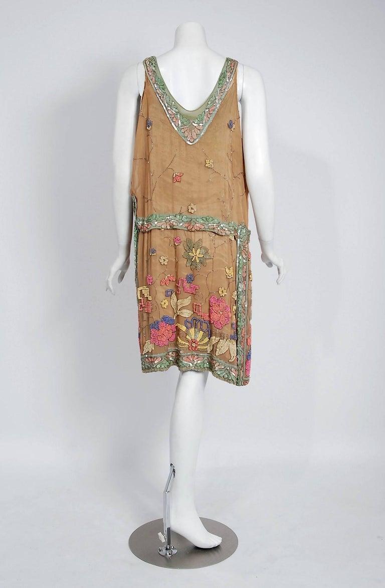 Vintage 1925 Henri Bendel Couture Beaded Floral Silk and Lamé Flapper Deco Dress For Sale 2