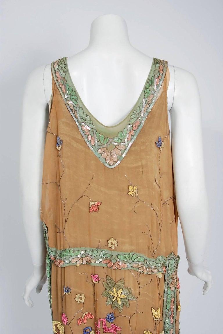 1925 Henri Bendel Couture Beaded Floral Silk & Lamé Flapper Art-Deco Dress For Sale 3