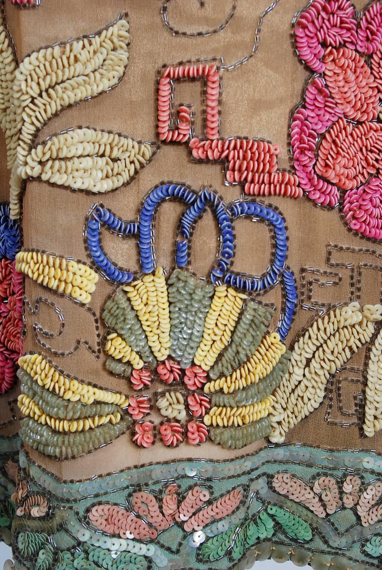 Vintage 1925 Henri Bendel Couture Beaded Floral Silk and Lamé Flapper Deco Dress For Sale 1