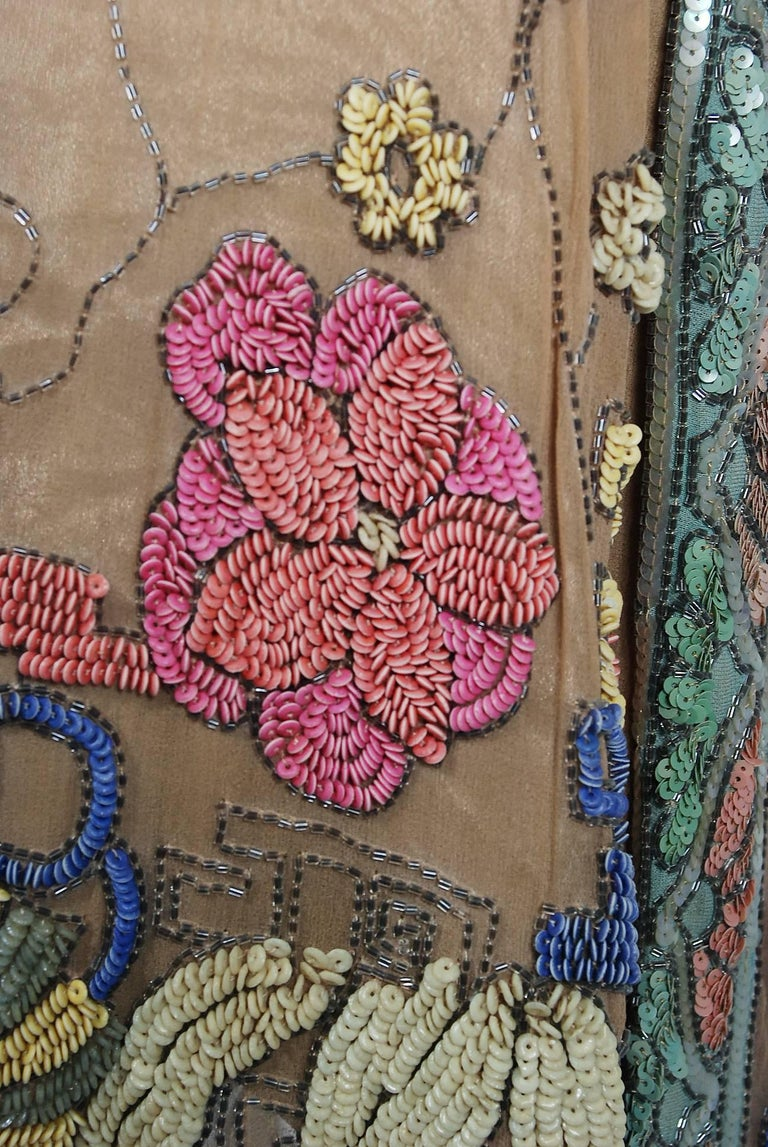 Vintage 1925 Henri Bendel Couture Beaded Floral Silk and Lamé Flapper Deco Dress For Sale 4