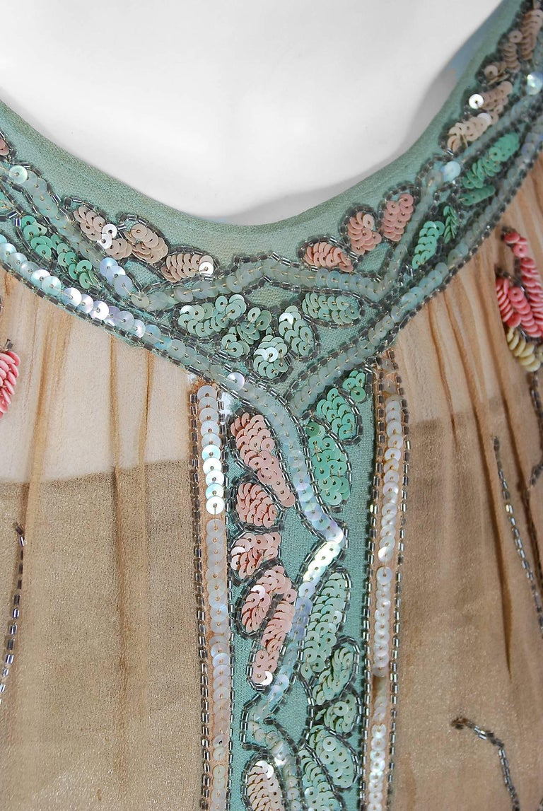 Brown 1925 Henri Bendel Couture Beaded Floral Silk & Lamé Flapper Art-Deco Dress For Sale