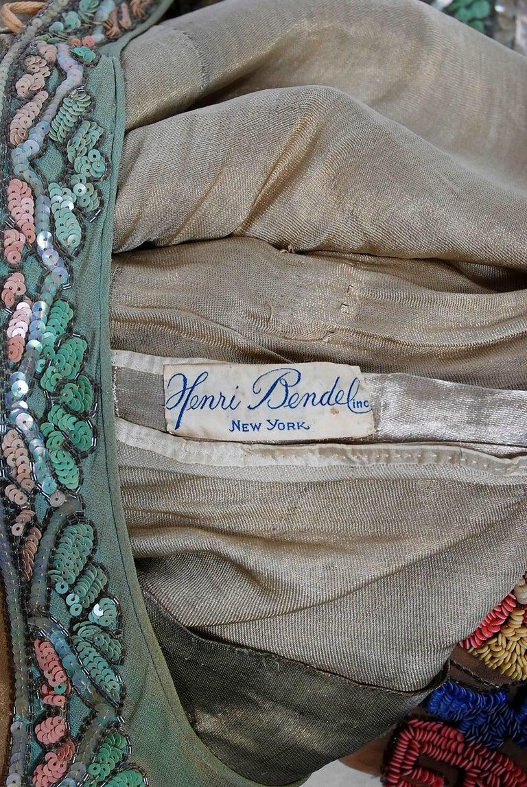 Vintage 1925 Henri Bendel Couture Beaded Floral Silk and Lamé Flapper Deco Dress For Sale 5