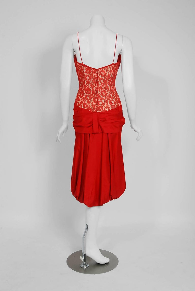 Women's 1950's Lilli Diamond Red Silk and Lace Illusion Draped Fishtail Cocktail Dress For Sale