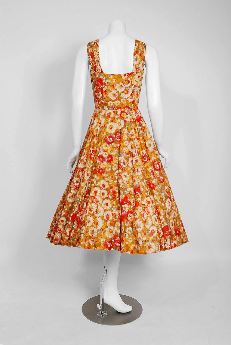 Vintage 1950's Beaded Marigold & Red Floral Print Cotton Shelf-Bust Full Dress For Sale 1
