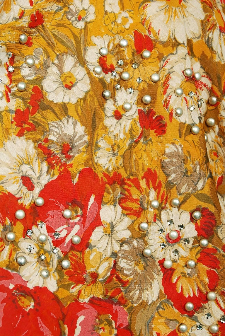 Women's Vintage 1950's Beaded Marigold & Red Floral Print Cotton Shelf-Bust Full Dress For Sale