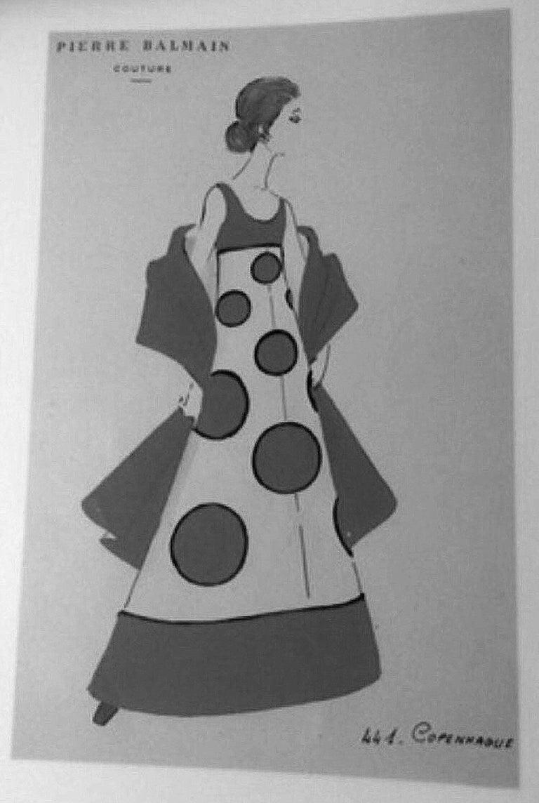 4ffa4fed12e ... Graphic Mod Evening Gown & Cape For Sale. Breathtaking Pierre Balmain  Haute-Couture royal purple velvet and black silk 'Copenhague' ensemble