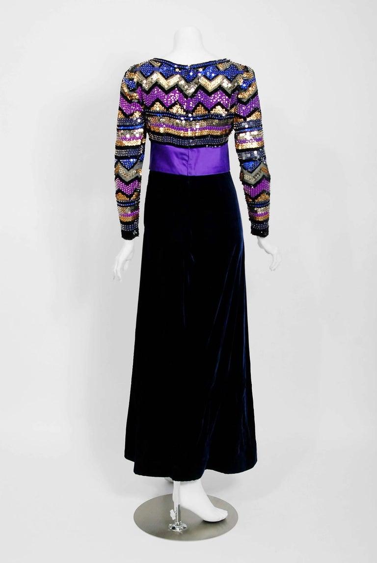Vintage 1971 Pierre Balmain Haute-Couture Beaded Blue Velvet Jumpsuit and Jacket For Sale 1