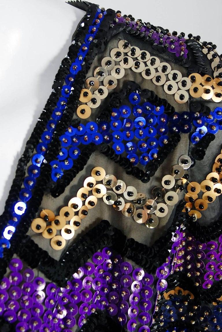 Black Vintage 1971 Pierre Balmain Haute-Couture Beaded Blue Velvet Jumpsuit and Jacket For Sale