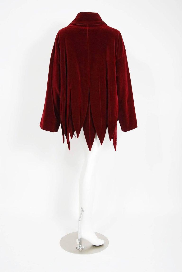 Women's or Men's Vintage 1987 Romeo Gigli Museum-Held Red Velvet Jester Petal Swing Coat Jacket  For Sale