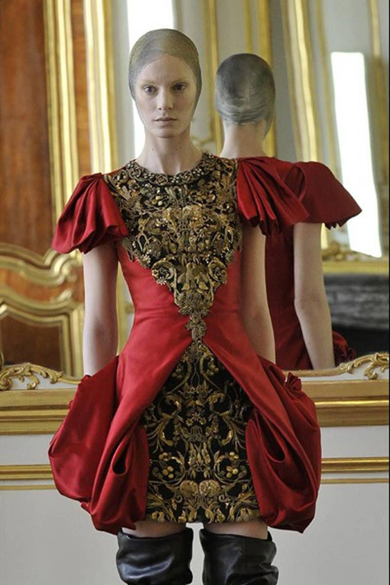 Brown 2010 Alexander McQueen Final Runway Collection Red Satin Metallic Bullion Dress For Sale