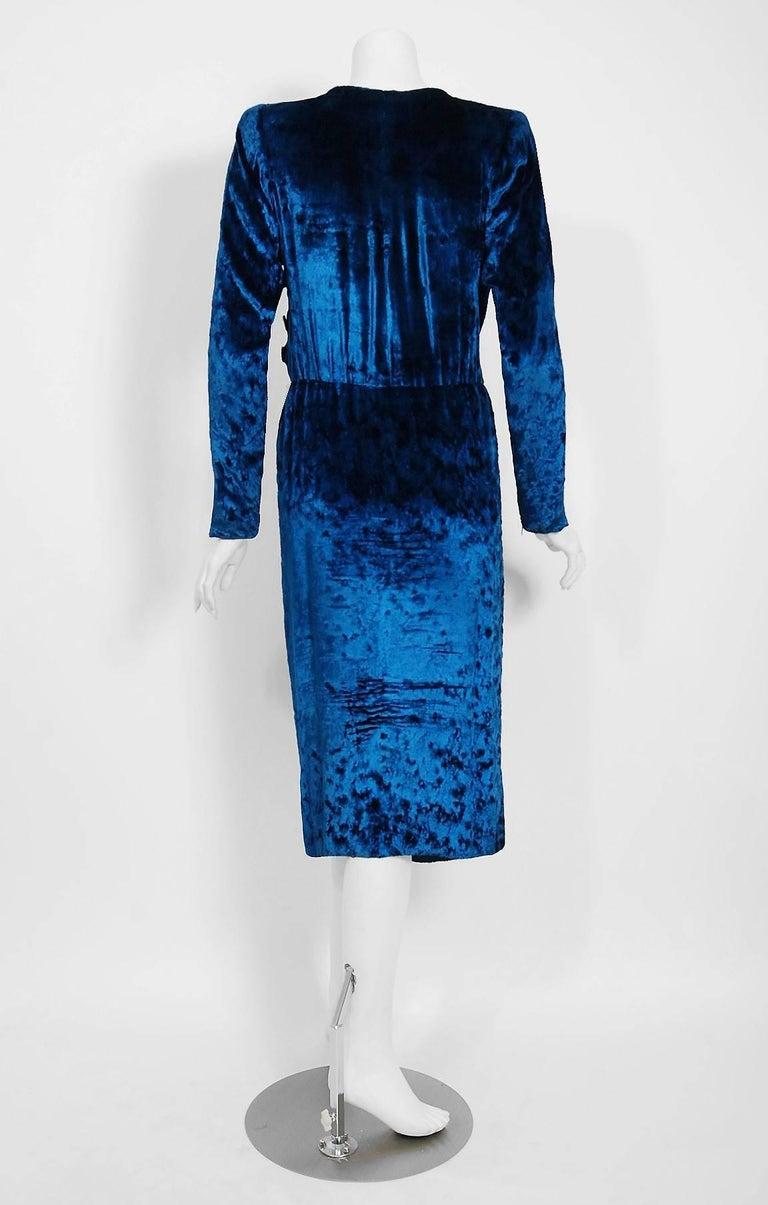 Vintage 1990 Givenchy Haute-Couture Sapphire Blue Draped Silk Velvet Dress  For Sale 3