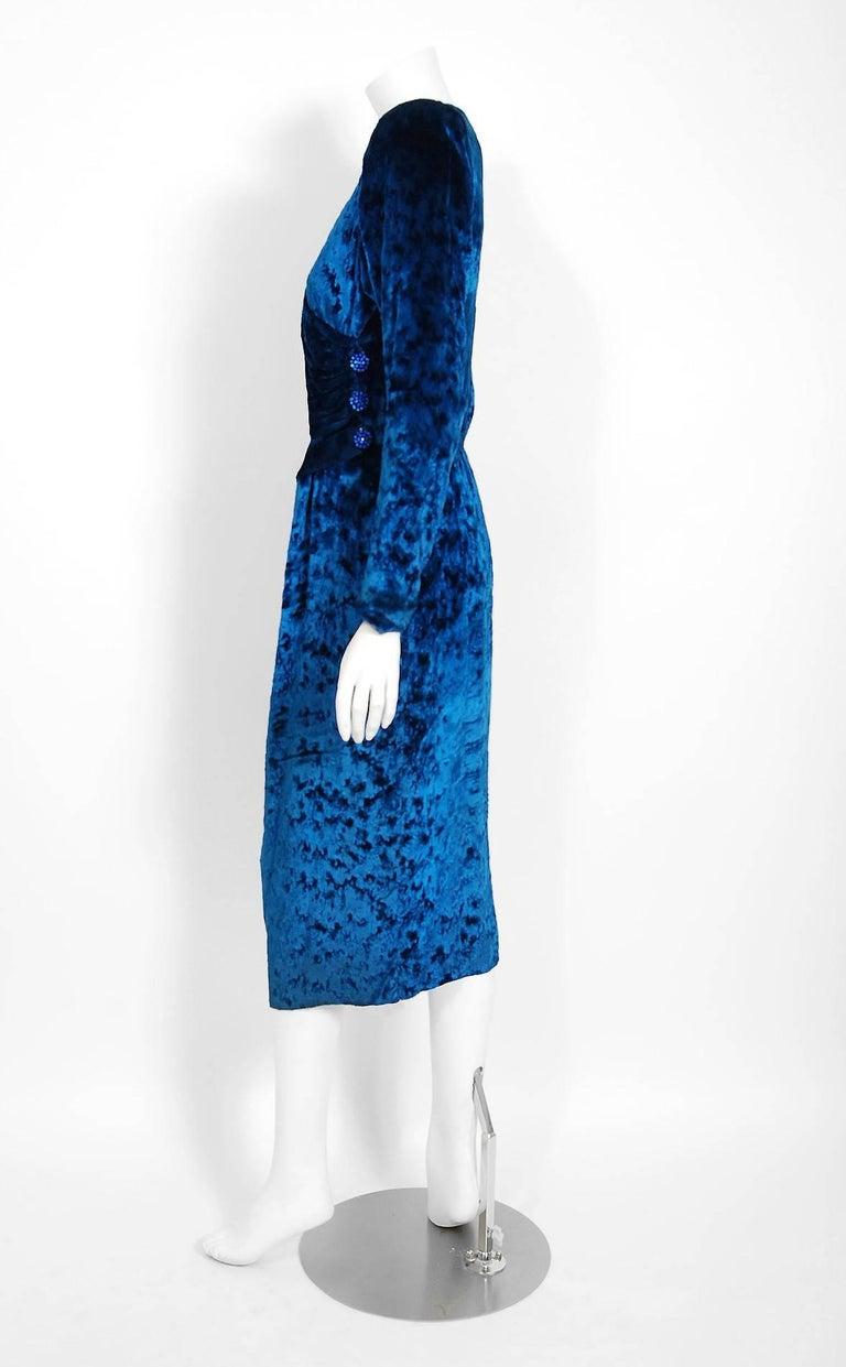 Vintage 1990 Givenchy Haute-Couture Sapphire Blue Draped Silk Velvet Dress  For Sale 2