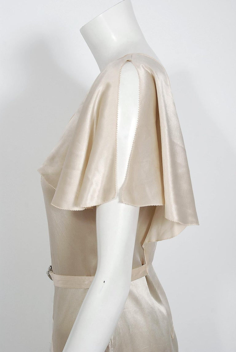 1930's Ivory Creme Satin Flutter Sleeve Plunge Belted Bias-Cut Tiered Deco Gown  1