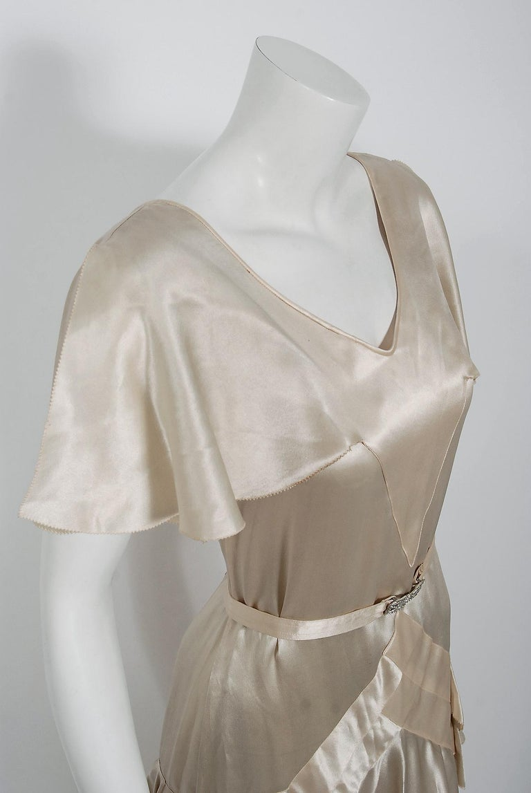 Beige 1930's Ivory Creme Satin Flutter Sleeve Plunge Belted Bias-Cut Tiered Deco Gown