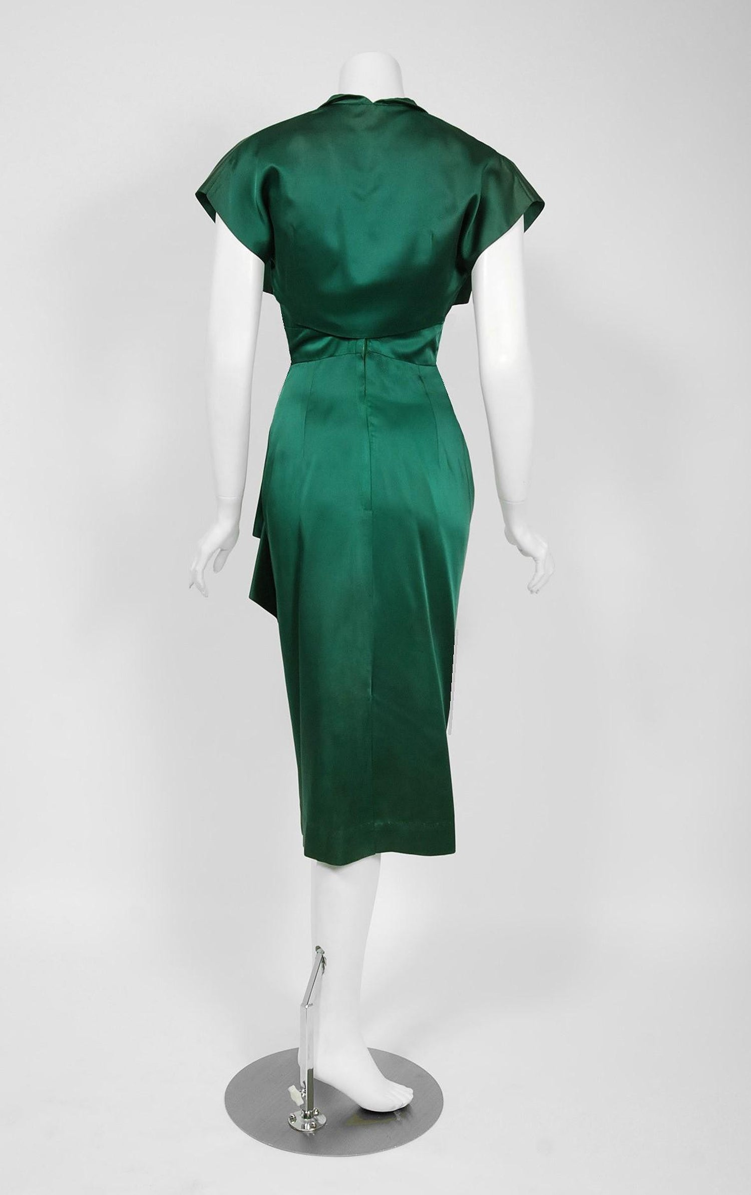 85420403a9 1940 s Forest Green Silk Flames Sculpted Swag Rhinestone Cocktail Dress and  Bolero at 1stdibs