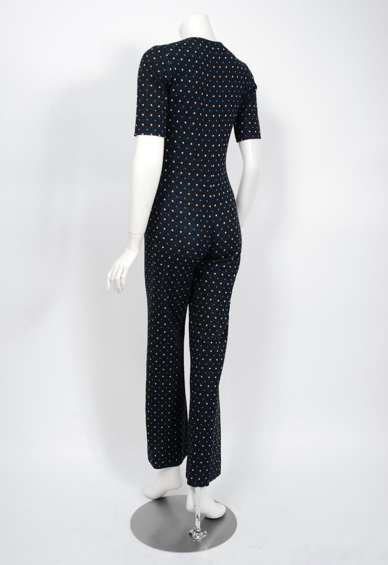 Women's 1973 Yves Saint Laurent Rive Gauche Dotted Wool Knit Zip-Up Tailored Jumpsuit For Sale