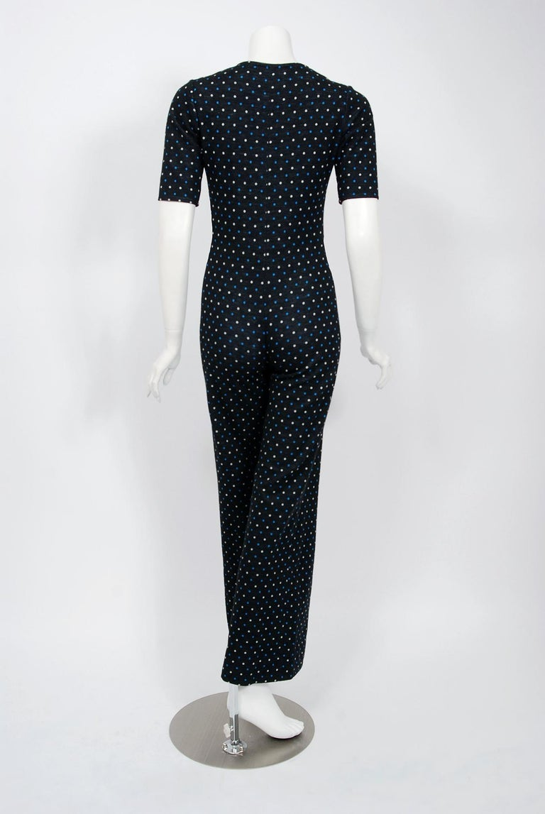 1973 Yves Saint Laurent Rive Gauche Dotted Wool Knit Zip-Up Tailored Jumpsuit For Sale 1