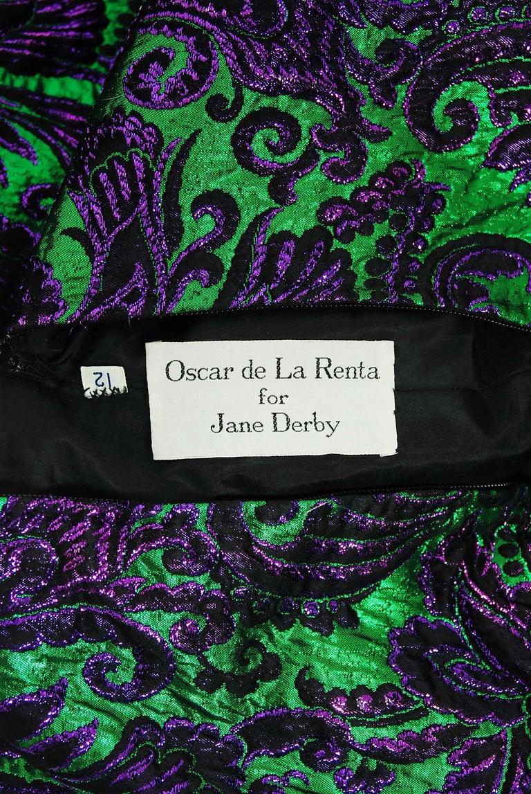 Vintage 1968 Oscar de la Renta for Jane Derby Green Purple Brocade Mink Fur Gown For Sale 2