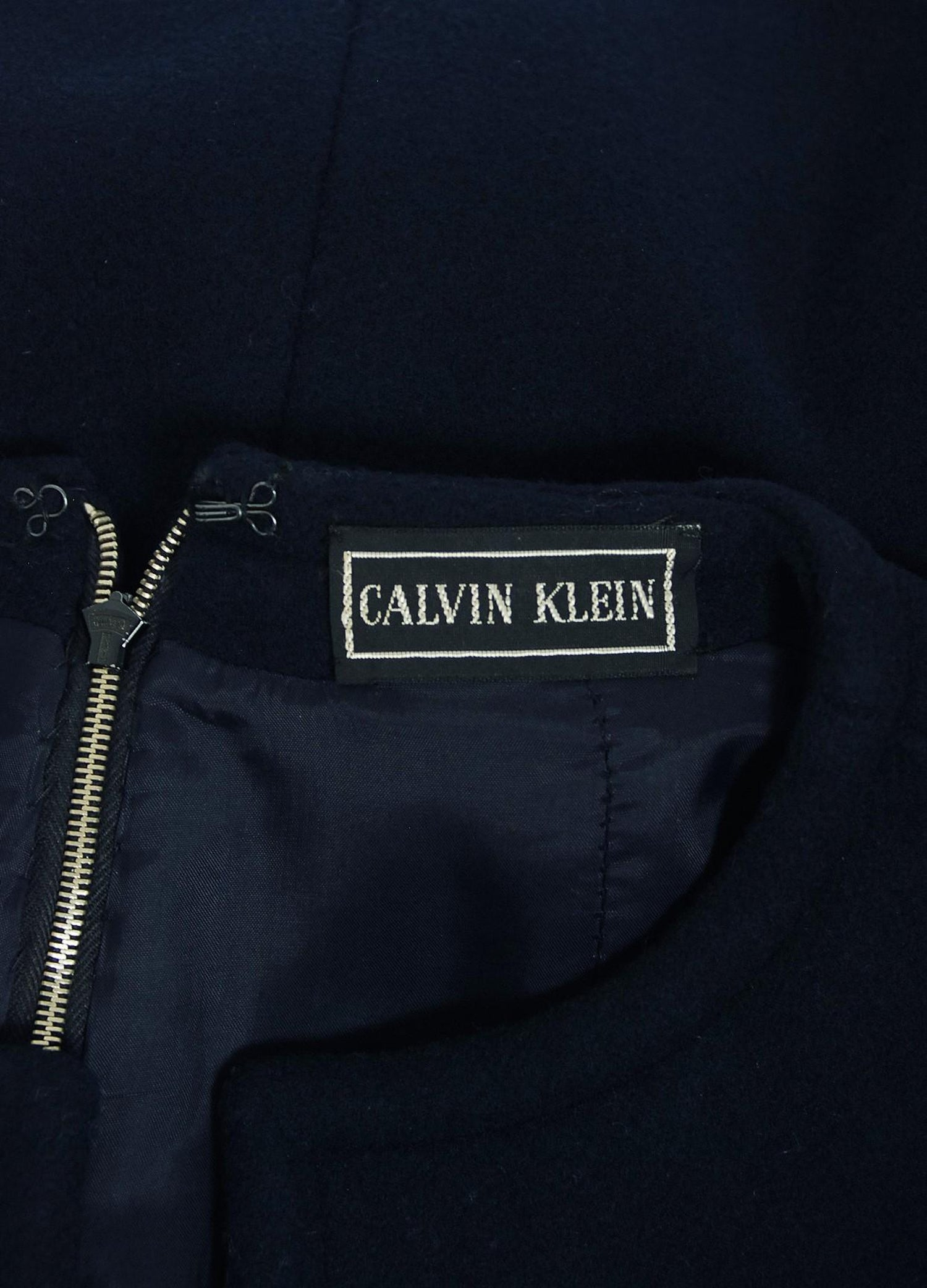 72418ea5e8033 1968 Calvin Klein Navy-Blue Wool Mod Pockets Sleeveless Tunic and Pants  Ensemble For Sale at 1stdibs