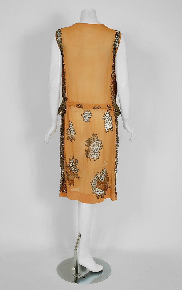 Women's 1920's Goupy French Couture Tangerine Silk & Metallic Gold Lace Art-Deco Dress  For Sale