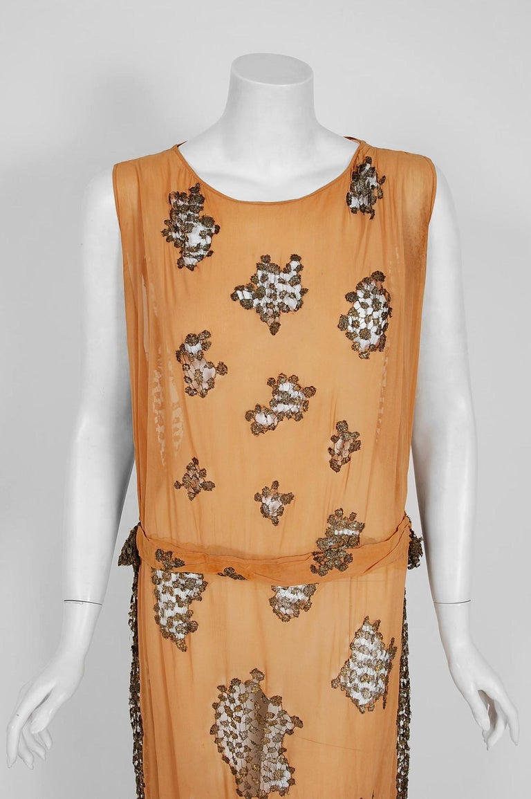1920's Goupy French Couture Tangerine Silk & Metallic Gold Lace Art-Deco Dress  For Sale 1