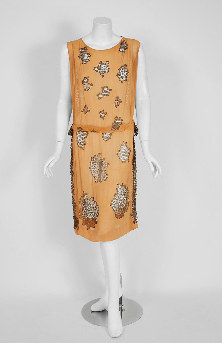 1920's Goupy French Couture Tangerine Silk & Metallic Gold Lace Art-Deco Dress  For Sale 2
