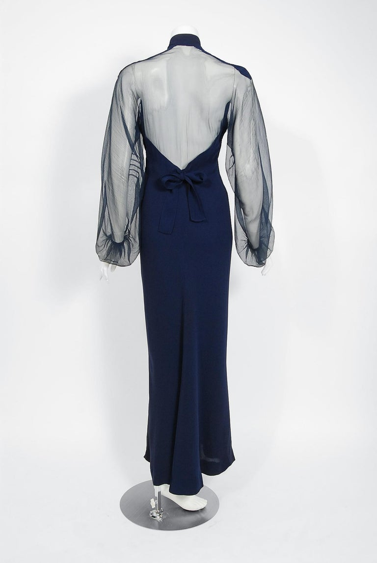 1936 Germaine Monteil Couture Movie Worn Navy Crepe Billow Sleeve Bias-Cut Gown For Sale 1