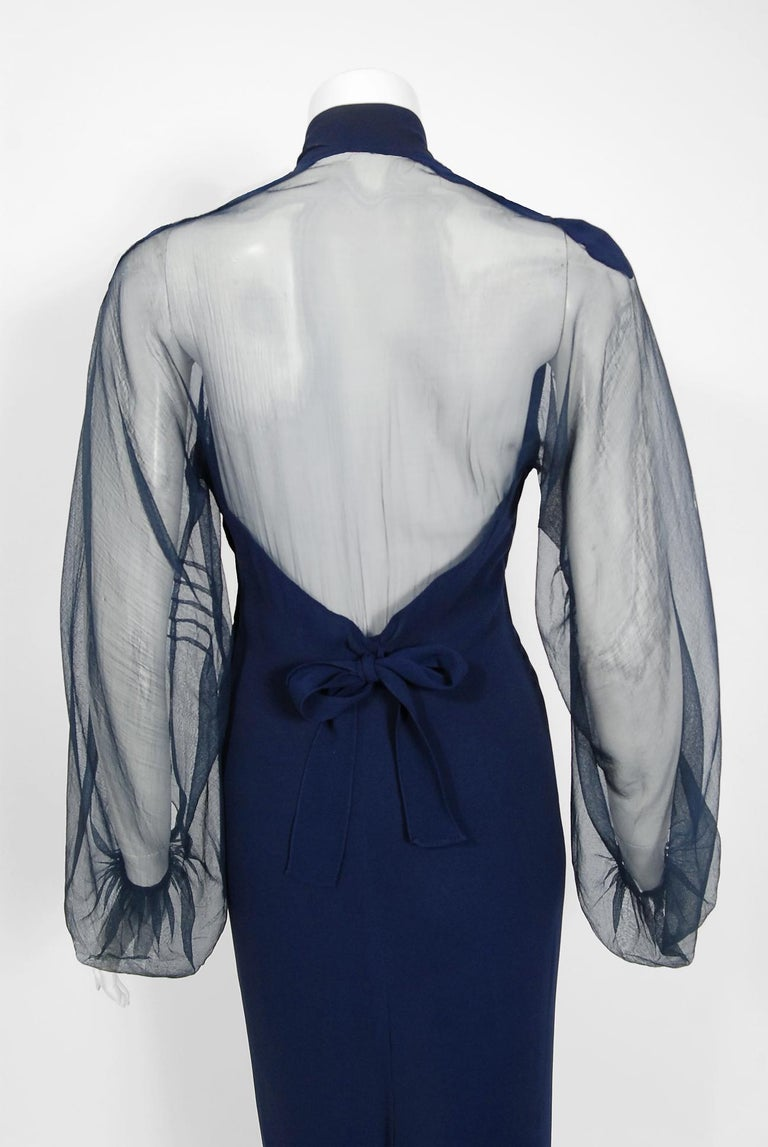 1936 Germaine Monteil Couture Movie Worn Navy Crepe Billow Sleeve Bias-Cut Gown For Sale 2