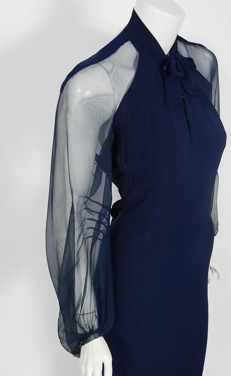 Black 1936 Germaine Monteil Couture Movie Worn Navy Crepe Billow Sleeve Bias-Cut Gown For Sale