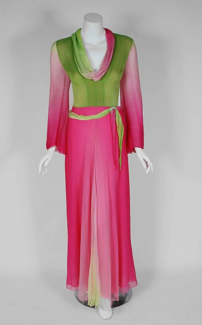 1970's Pauline Trigere Pink & Green Ombre Silk Chiffon Bell-Sleeve Goddess Gown 2