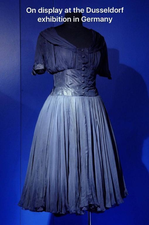 1955 Jean Desses Haute-Couture Sculpted Navy Blue Silk Shelf-Bust Party Dress 2