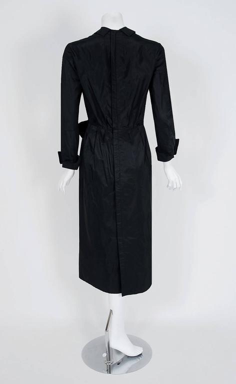 Women's 1954 Christian Dior Original Black Silk-Taffeta Asymmetric Ruffle Cocktail Dress For Sale