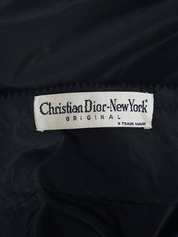 1954 Christian Dior Original Black Silk-Taffeta Asymmetric Ruffle Cocktail Dress For Sale 1