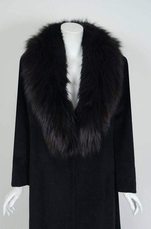 1958 Sorelle Fontana Haute-Couture Black Wool Fox-Fur Coat Owned By Ava Gardner 4