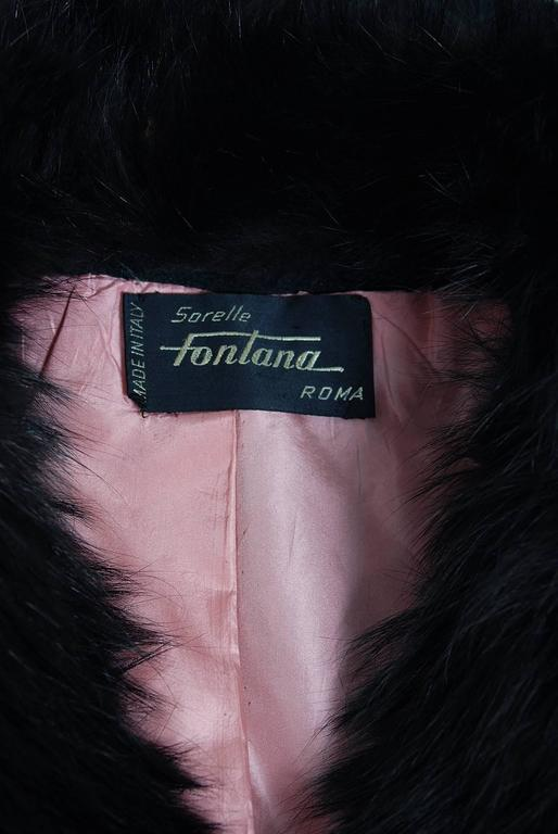 1958 Sorelle Fontana Haute-Couture Black Wool Fox-Fur Coat Owned By Ava Gardner 6