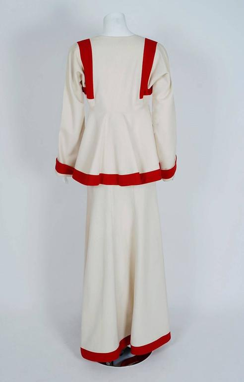 1973 Ossie Clark Ivory Red Block-Color Wool Jacket & Maxi Skirt Dress Ensemble In Excellent Condition For Sale In Beverly Hills, CA