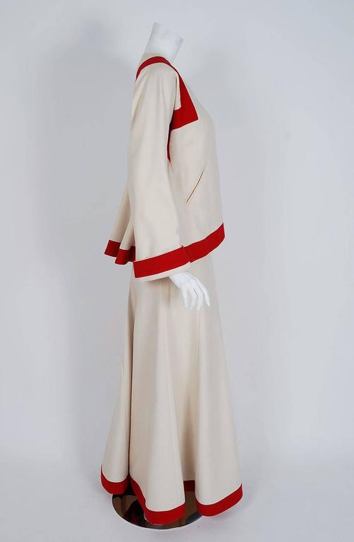 Beige 1973 Ossie Clark Ivory Red Block-Color Wool Jacket & Maxi Skirt Dress Ensemble For Sale