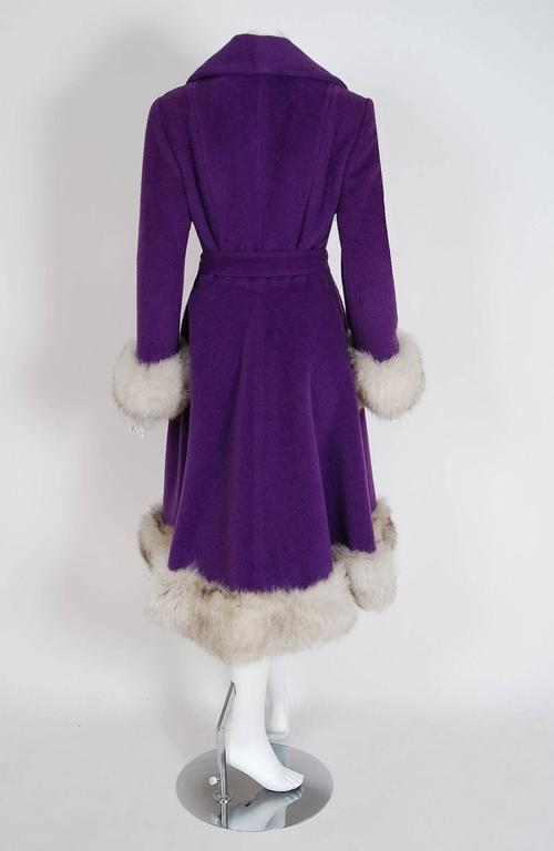 1960's Lilli-Ann Purple Wool & Fox Fur Double-Breasted Belted Princess Coat  5
